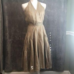 Ralph Lauren Gold Metallic Linen Wrap Dress L